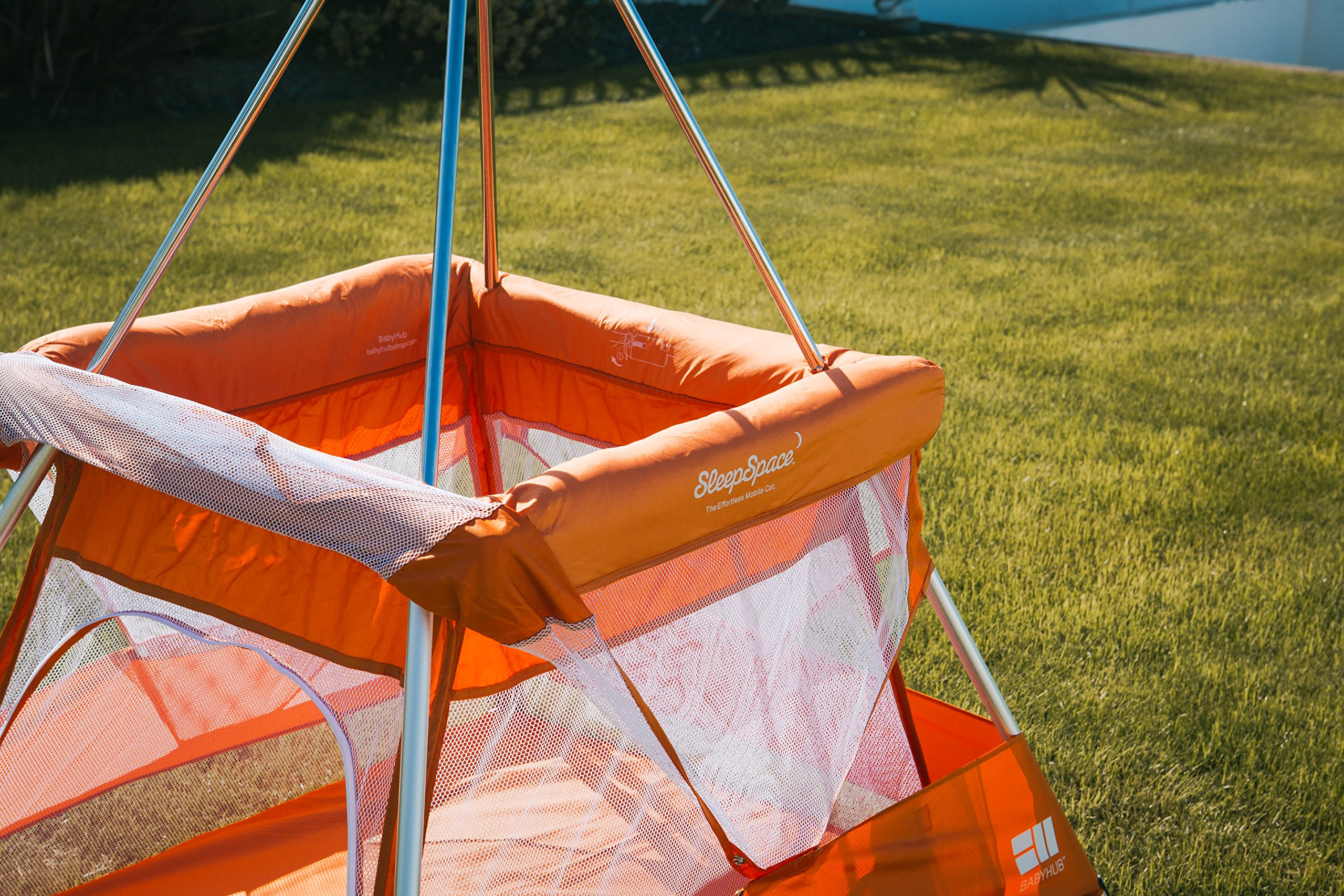 BabyHub SleepSpace Travel Cot with Mosquito Net, Orange BabyHub Three cots in one; use as a travel cot, mosquito proof space and reuse as a play tepee Includes extra mosquito net cover that can be securely in place Can be set up and moved even while holding a baby 6