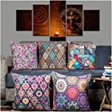 Vendola Turkish Vibe Decorative Printed Satin Cushion / Throw / Pillow Covers (Multicolour) Set of 5 Pieces (16X16 Inches)
