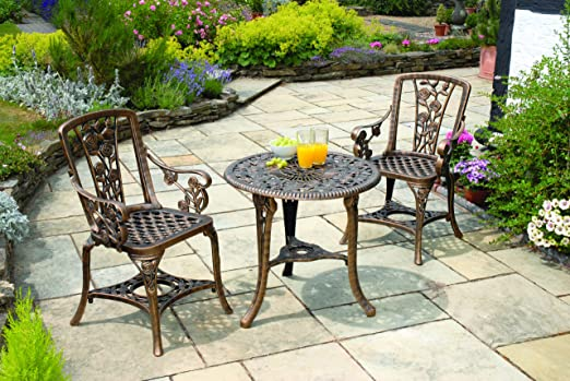 Gablemere  Seater Plastic Rose Design Patio Set with Round Bistro