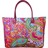 BAGWATI Cotton Kantha Fabric Big Size Tote Handbag with Leather Handles Dark Pink Color for Women and Girls