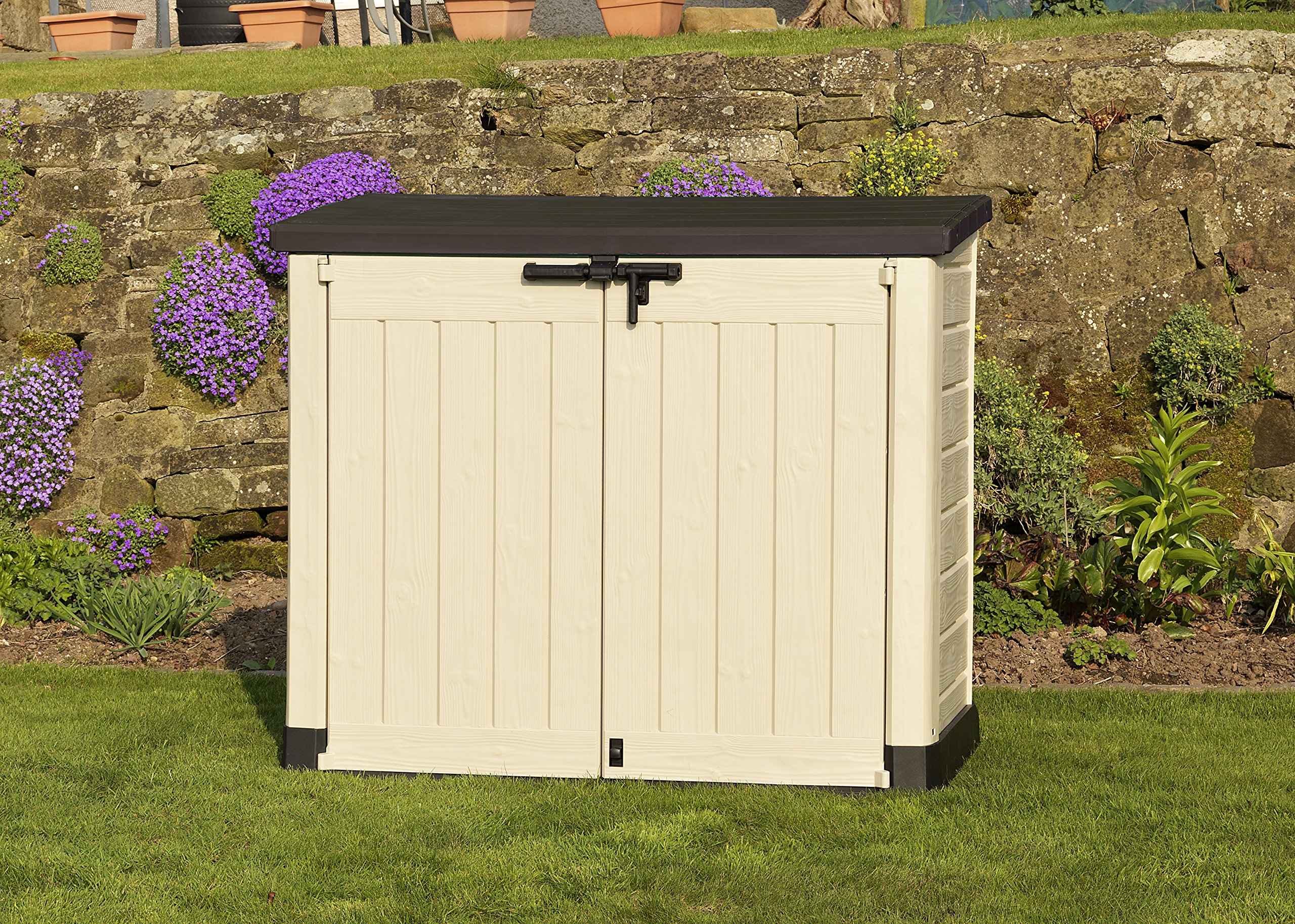 keter store it out max outdoor plastic garden storage shed 145 5 x 82 x 125 cm ebay. Black Bedroom Furniture Sets. Home Design Ideas