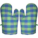 GLUN Pair of Extra Padded Unique Check Pattern Oven Gloves Heat Resistant, Protection of Hands from Hot Utensils, Grill, Barb