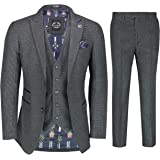 Mens Houndstooth 3 Piece Suit Classic 1920s Retro Gatsby Smart Tailored Fit Jacket Waistcoat Trouser