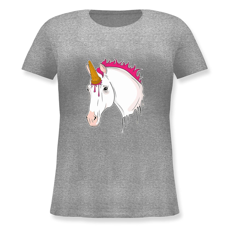 Statement Shirts - Einhorn mit Eis - Lockeres Damen-Shirt in großen Größen  mit Rundhalsausschnitt: Shirtracer: Amazon.de: Bekleidung