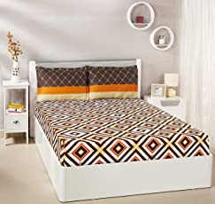 Amazon Brand - Solimo Diamond Dreams 144 TC 100% Cotton Double Bedsheet with 2 Complimentary Pillow Covers - Brown