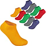 DaMaro Sneaker Socken - 10 bis 20 Paar Füßlinge aus Baumwolle in allen Farben (schwarz, weiß, bunt), allen Größen (35–50), Unisex für Herren und Damen