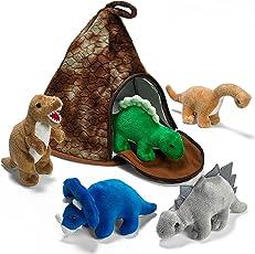 Prextex Dinosaurier VulkanHaus mit 5 Plüsch Dinosauriern Super Weihnachtsgeschenk für Kinder