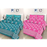 SheetKart Floral 144 TC Cotton Double Bedsheet Combo Pack with 2 Bedsheets and 4 Pillow Covers, Sea Green and Pink