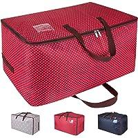 DOKEHOM 100L Sacs pour vêtements, étanche épais surdimensionnée Organiseur Sac de rangement, Sac de Voyage (Rouge)