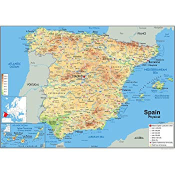 Map Of Spain Eibar.Spain Political Map Paper Laminated A0 Size 84 1 X 118 9 Cm