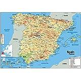 Carte physique de l'Espagne, papier plastifié, format A1 59,4 x 84,1 cm