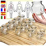 Lunata (Upgrade 2019) 12x Fire Suctions Cups, Anti Cellulite Vacuum Cups, Massage Glass, Fire Cupping for a Professional Massage