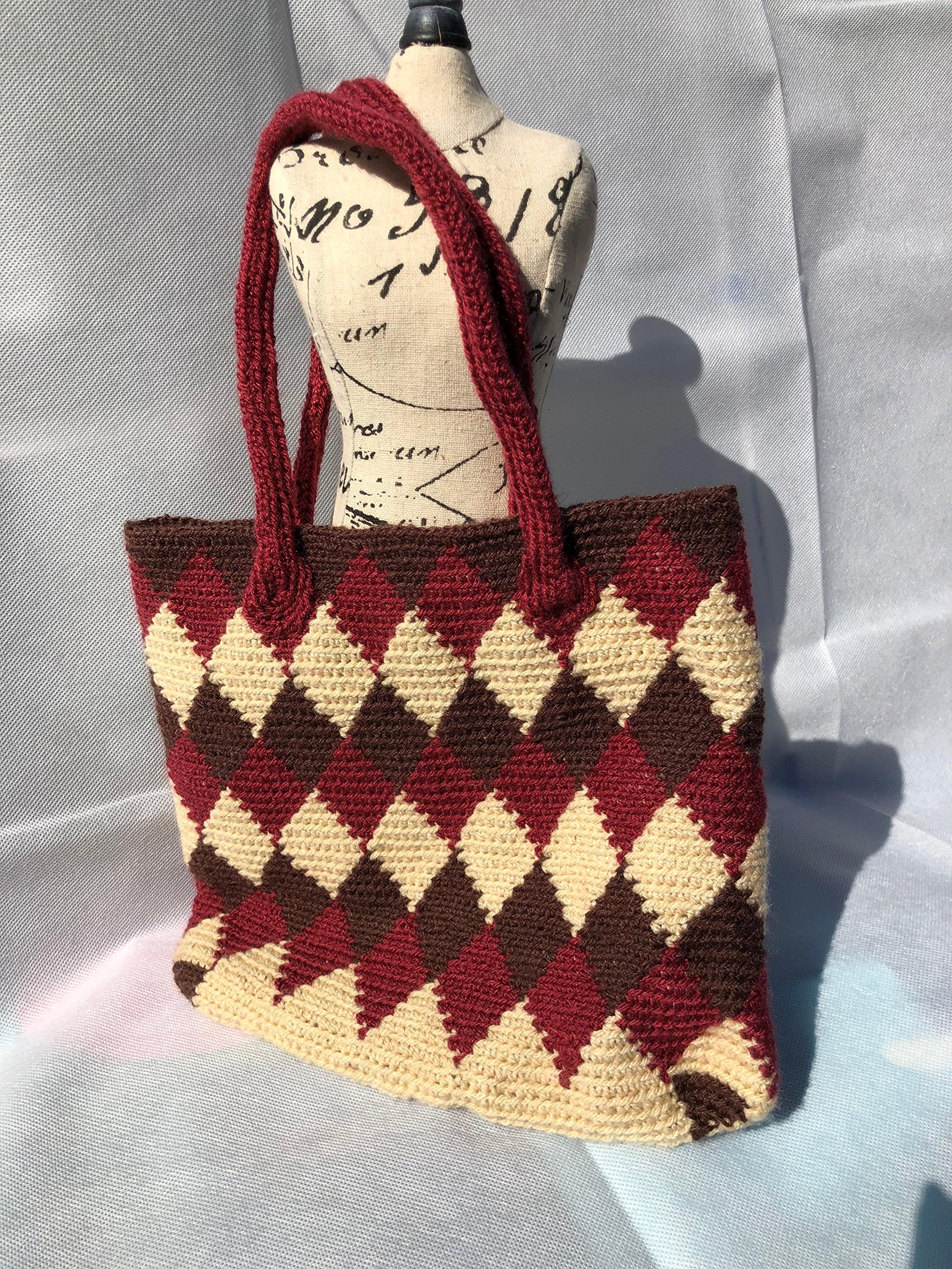 Handmade crocheted handled bag. - handmade-bags