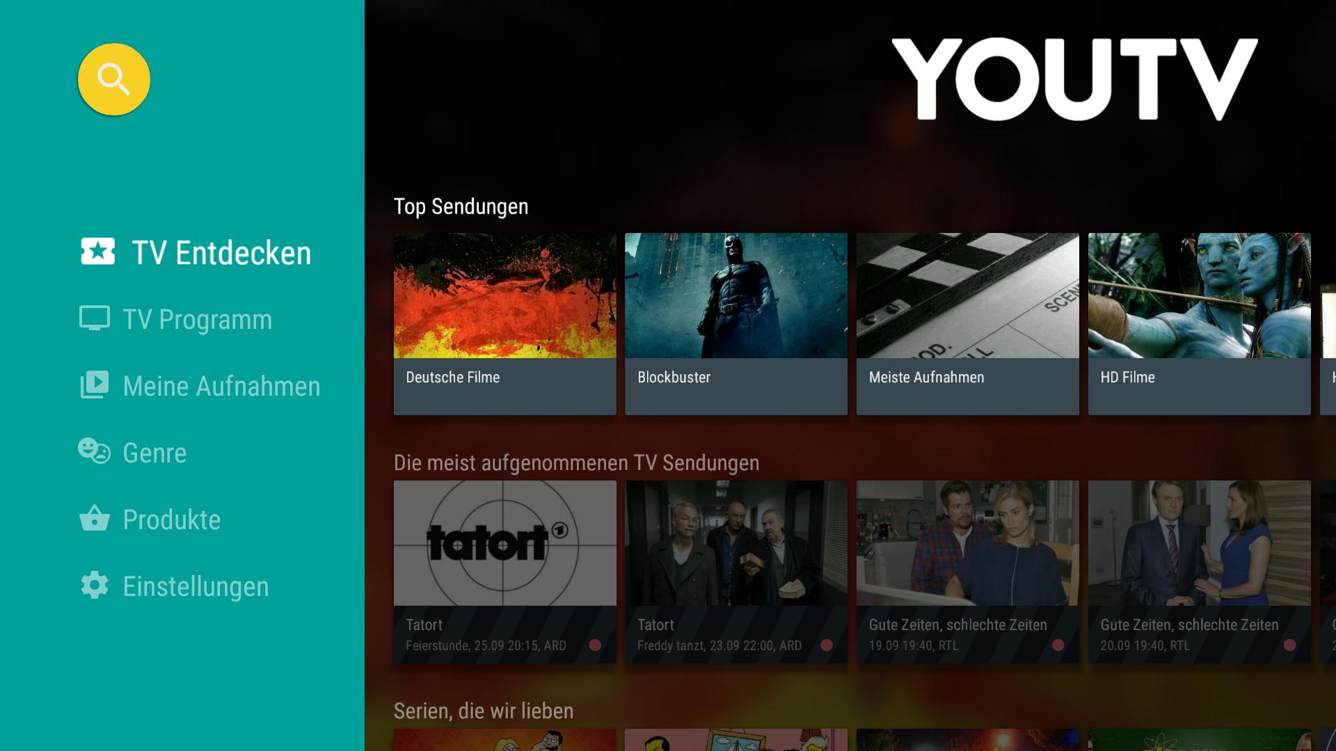 YouTV • Videorekorder für TV und Fernsehen Screenshot