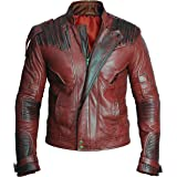 Guardians Mens Distressed Red Maroon Faux Leather Jacket