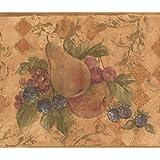 Retro-Design Tapetenbord/üre mit wei/ßen Granat-roten Blumen auf Weinrebe Rolle 4,6 x 17,5 cm