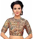 STUDIO Shringaar Women's Kalamkaari Digital Print Readymade Saree Blouse With Jewel Neck And Elbow Length Sleeves