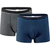 VANEVER Men's Trunks, 2 Pack, Cotton Stretch Boxer Shorts Patterned Underwear