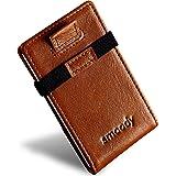 smoody® Tarjetero para 10 Tarjetas de Credito Bloqueo RFID Cartera Minimalista Hombre y Mujer Pequeña Billetera con Elástico