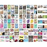 Uppsättning av 100 vykort med ordspråk, kort med ordspråk, presentidé.Födelsedagskort, födelsedag, kärlek, vänskap, liv, moti