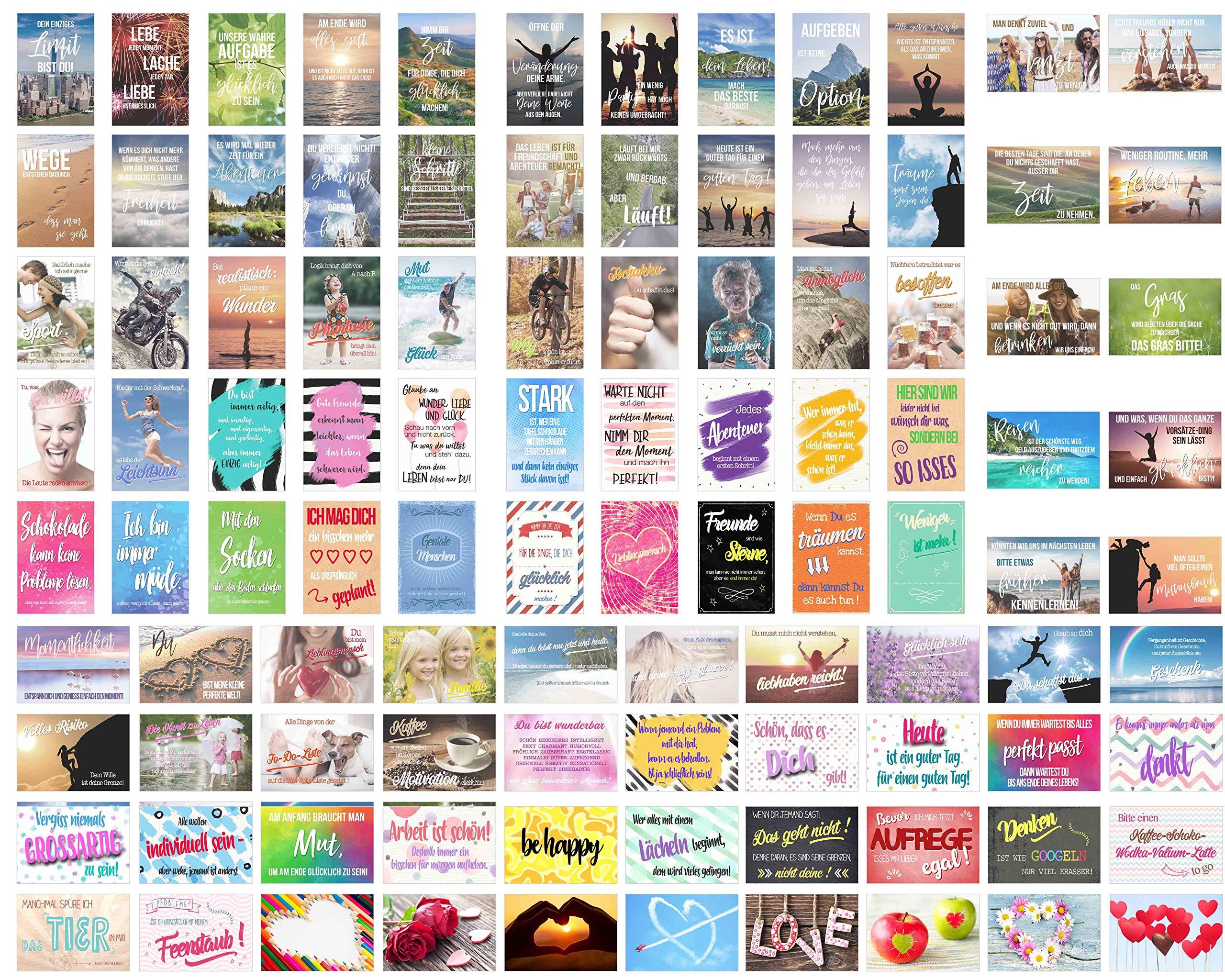 Set 100 Postkarten Leben Momente Mit Spruchen Grusskartenkaufen De