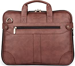 The Clownfish Royal Synthetic Leather Laptop Briefcase - | Laptop Bag | Messenger Bag (Cinnamon) with 365 Days Warranty