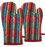 Raksha - 100% Cotton Oven Gloves-Pack of 2-(Multi Colour)