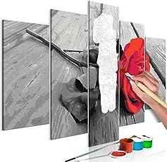murando - Malen nach Zahlen Rose Holz 100x50cm 5 TLG Malset DIY n-A-0608-d-m