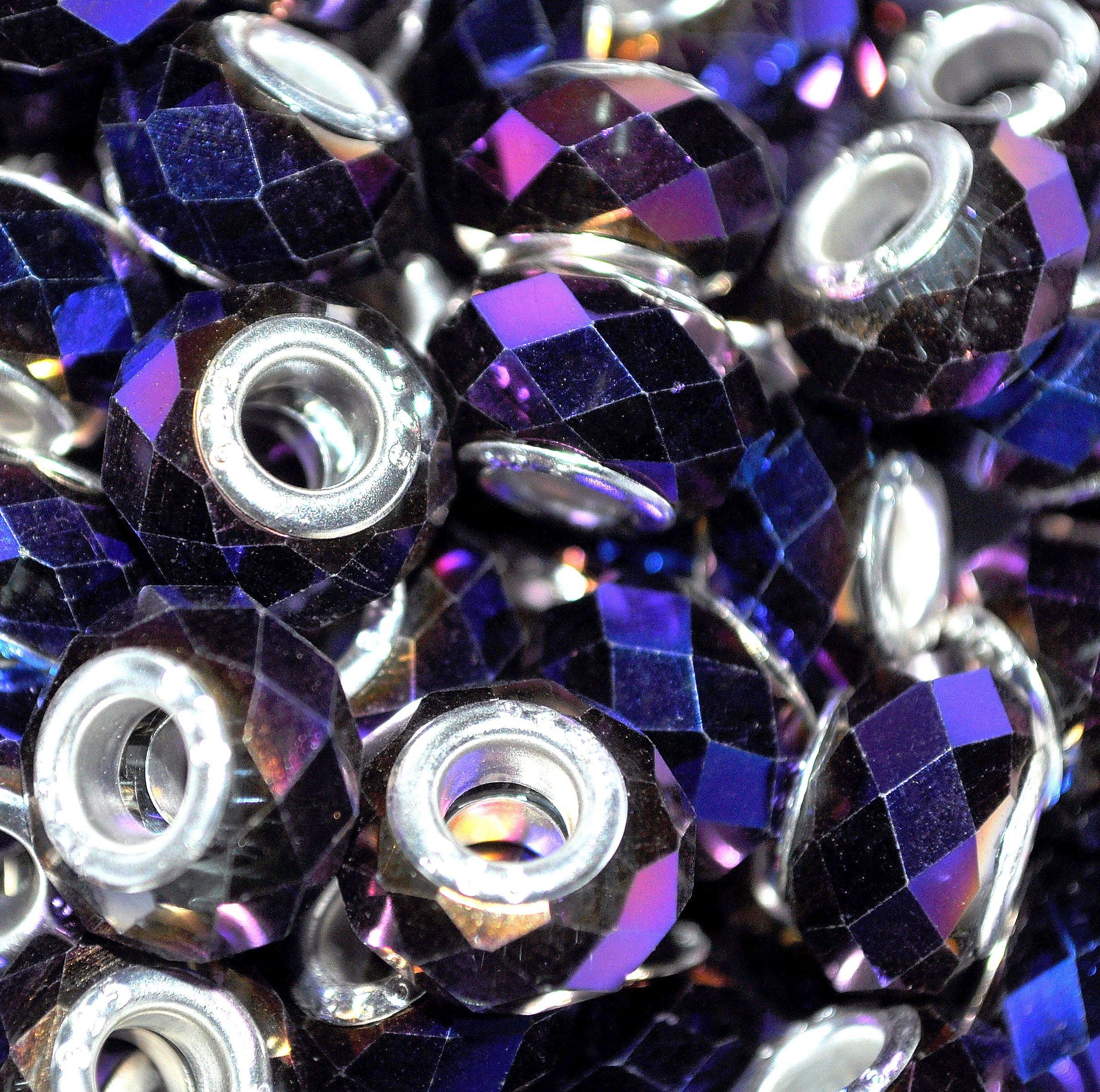 5pc in vetro cristallo sfaccettato perline placcato argento, solido, Cristallo, blue violet