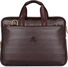 The Clownfish Vegan Leather 8 Ltr Brown Laptop Briefcase
