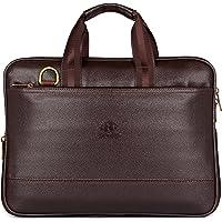 The Clownfish Vegan Leather 14 inch Briefcase Slim Expandable Bag upto 14 inch laptop size Laptopbag Slim Bag (Chocolate…