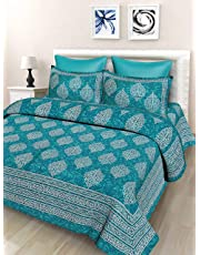 SheetKart Floral Printed 144 TC Cotton Double Bedsheet with 2 Pillow Covers