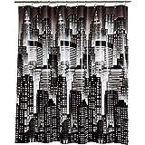 Amazon Basics - Cortina de ducha de PEVA de peso medio, paisaje urbano, 183 x 183 cm
