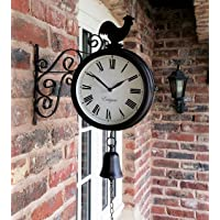 Westminster Cockerel And Bell Outdoor Garden Clock With Station Bracket Double Sided - 20Cm Diameter