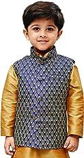 JBN Creation Boys Silk Cotton Modi Nehru Jacket (Blue_VASBJBU005)