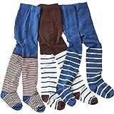 WELLYOU leotardos para bebés/niños medias para niñas/niños, pantimedias conjunto de 2 azul/marrón y rayas. tallas 86-146