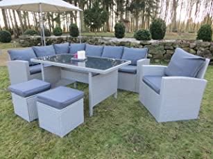 """Hohe Dinning Poly Rattan Lounge inkl. einem Sessel und zwei Hocker """"Milos XL"""" auch spiegelverkehrt nutzbar aus dem Hause Pure Home & Garden"""