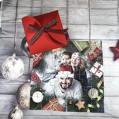 Puzzle natalizio con foto biglietto con la vostra foto preferita, cornice a scelta, idea regalo natalizia per amici, parenti, nonni, genitori, figli