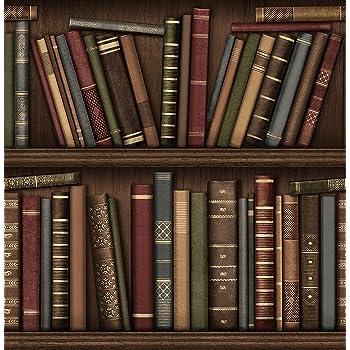 Brewster Fd40545 Bookcase Wallpaper Brown Multi Amazon Co Uk Diy