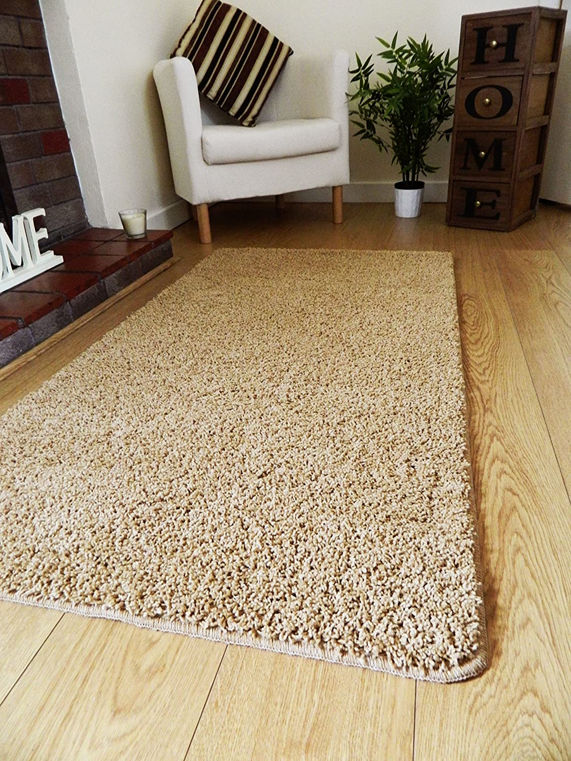 NEW BISCUIT GOLD SHAGGY MATS MACHINE WASHABLE NON SLIP LARGE SMALL BEDROOM  RUGS (66 X 120 CM): Amazon.co.uk: Kitchen U0026 Home