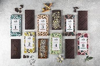 LUXURIOUS Veganes Schokoladen-Geschenksortiment 6 Geschmacksrichtungen Zuckerfreie Schokolade mit Rosinen und Minze/Zartbitterschokolade/Rose und Schwarzer Preffer/Pistazien und Salz/Lavendel und Zitrone/Mandeln und Zimt