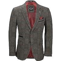 Xposed Munro Mens Grey Tweed Blazer 1920s Retro Classic Tonal Check Tailored Suit Jacket