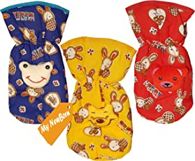 My Newborn Baby Feeding Bottle Case - Combo Set of 3 Pcs. Pure Cotton Covers With Attractive Cartoon (Cottonprint-Multi)
