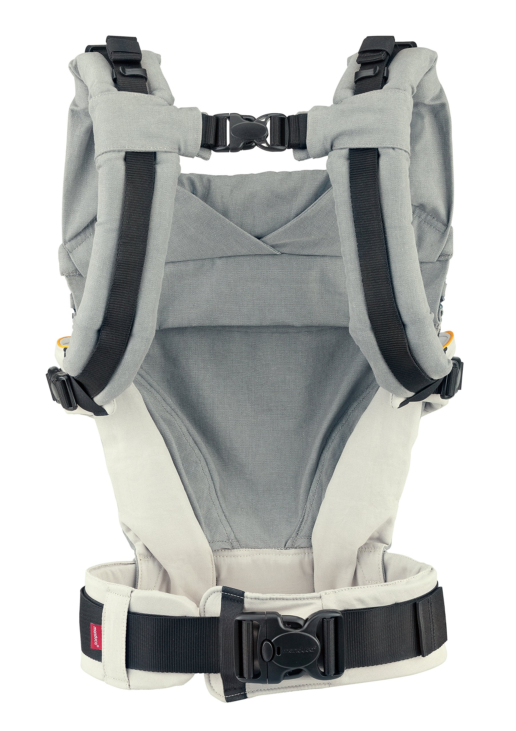 manduca XT > grey- orange < Baby Carrier with Adjustable Seat, 3 Carrying Positions (Front, Hip & Back), No Infant Insert Needed, Organic Cotton, Grows with your Baby from Birth to Toddler (3.5- 20kg) Manduca This baby carrier adapts from newborn to toddler. Infinitely adjustable seat (16-50cm) without buttons, knots, Velcro or cord system. Novel tension arches support baby's spine & hip Three height options thanks to the patented back extension & integrated zip-in. Multifunctional headrest (classic hood or rolled up as neck support). No accessories needed. One Size 3 carry positions: front, hip and back carrier. Not intended for face-out position. Supports the squat-spread position (M-Position) 8