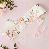 Ginger Ray Floral Hen Party Rose Gold Foiled Bride To Be Sash Single Pack