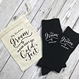 Personalised Groom Wedding Day Socks with Personalised Gift Bag Don't Get Cold Feet