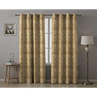 Rayna Decor 1 Piece Suede Velvet Texture Eyelet Window Curtain (4.5 x 5 feet) Gold