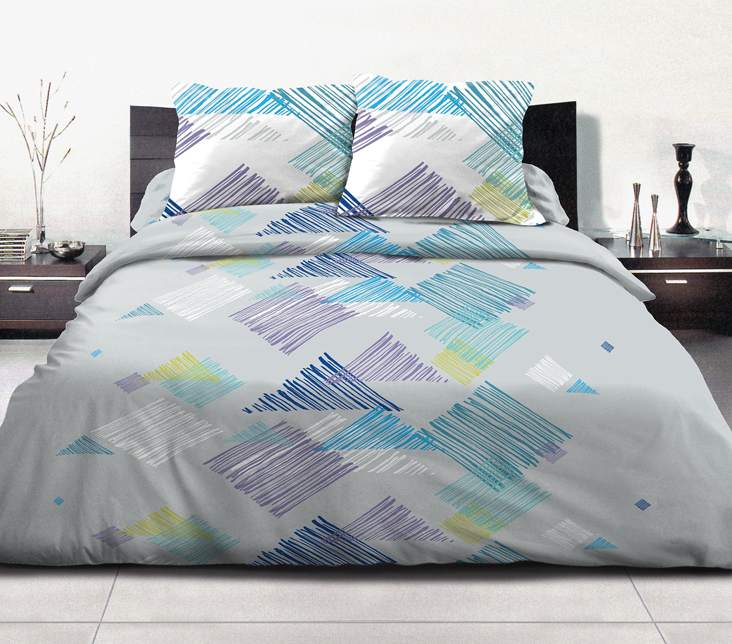 Home Passione 60511Pack di 3Parure Copripiumino 57fili graffe Azur cotone multicolore 240x 260c