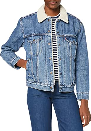 Levi's Ex-BF Sherpa Trucker Giacca in Jeans Donna