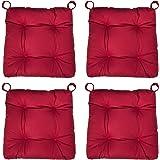 sleepling 190201 Lot de 4 Coussins de Chaise I d'assise Confortable, Tailles: 40 (Devant) / 35 (derrière) x 38 x 8 cm, Rouge